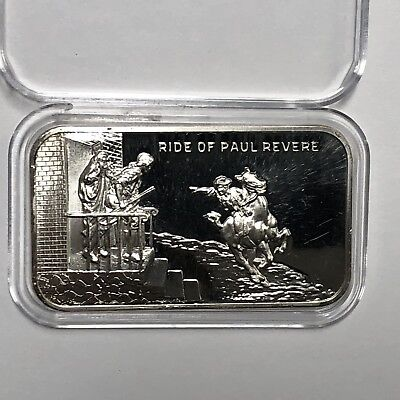 1973 Ride Of Paul Revere U.S. Coinage Corp. 1 Troy Oz .999 Fine Silver Bar Ingot