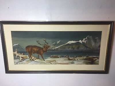 Stunning 19th Century Painting of Stags in Mountainous Landscape Signed & Framed
