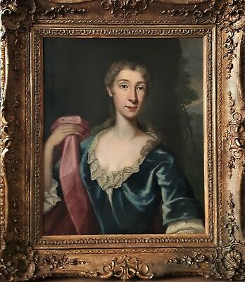 Exquisite Large English Old Master Lady Portrait Oil On Canvas Painting C1710