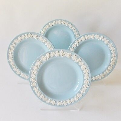 """Four Wedgwood Queens Ware Bread And Butter Plates Cream On Lavender Blue 6"""""""