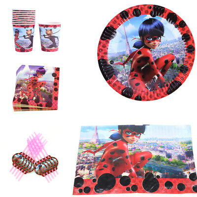 51 pcs Miraculous Ladybug Girls Birthday Party Tableware 10 Guest Decor Napkins