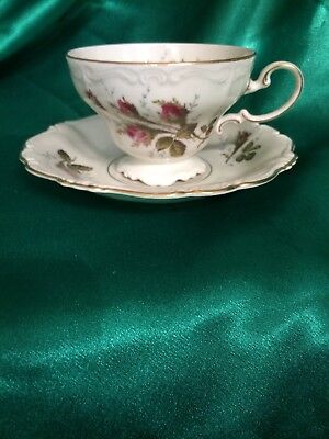 Rosenthal Pompadour Moss Rose Footed Cup&Saucer Set  Germany 12 available