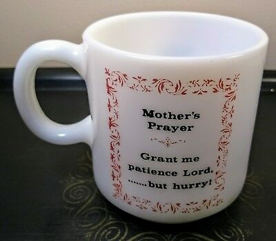 Vintage Mothers Prayer Milk Glass Coffee Cup