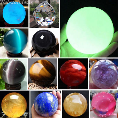 Lot Rare Natural Quartz Magic Gemstone Sphere Crystal Reiki Healing Ball Stone N