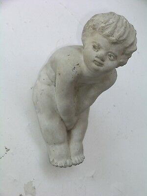 "Vintage Cherub Angel Boy Girl Concrete Cement Garden Statue 10"" High"