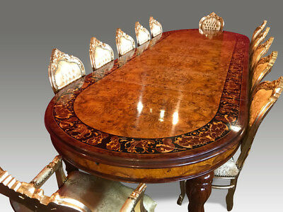Magnificent Grand 12.5ft Burr Walnut Marquetry dining table pro French polished