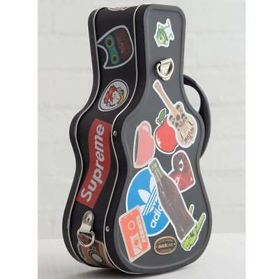 """Rock Star Black Guitar Shaped Tin Lunch Box with Stickers ~ SUCK UK ~ 11""""x6""""~New"""