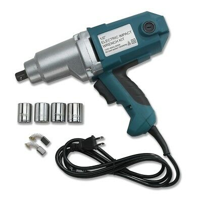 """1/2"""" Electric Corded Impact Wrench Gun Set W/ Case & Sockets Driver High Torque"""
