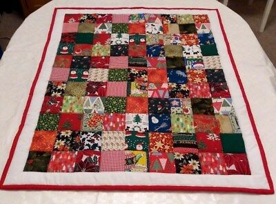 "42"" X 35"" HANDMADE PATCHWORK ALL THINGS CHRISTMAS 4oz TODDLER QUILT"