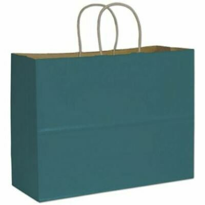 250 Teal Blue Color on Kraft Shoppers Paper Bags Gift Merchandise 16 x 6 x 12 1/
