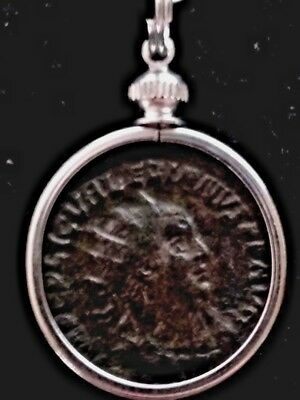 Valerian Large Silver Billon 21mm Genuine Ancient Roman Coin Pendant Necklace