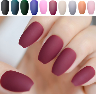 Fake False Nails Full Cover Medium Artificial Nails Press On Frosted Matte 24x