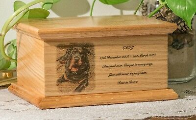 Bespoke Pet/Dog/ Cat Urn, personalised front with your own picture and wording