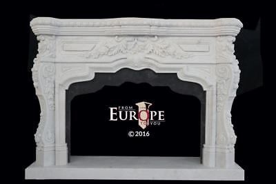 Beautiful Hand Carved Marble Victorian French Style Fireplace Mantel - #fpm