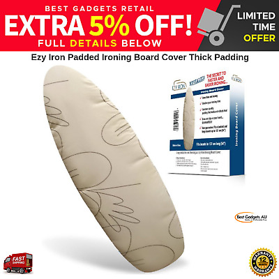EZY IRON Premium Thick Heat Reflective Padded Ironing Board Cover Beige NEW