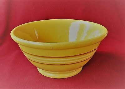 "vintage-LARGE 13.5"" STRIPED YELLOWARE BOWL-excellent condition"