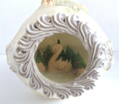 Vintage Large Sugar Easter Egg Diorama Panorama Wrapped Swan Lake Trees