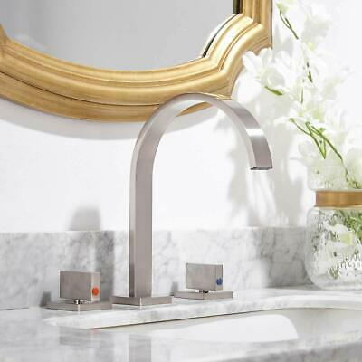 Gold Brass Bathroom Basin Faucet Waterfall Spout Vanity Sink Mixer Tap Dual Knob