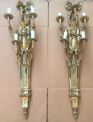 Pair of Antique Wall Hanging  bronze brass Candle Holders/Sconces Very Heavy !!!