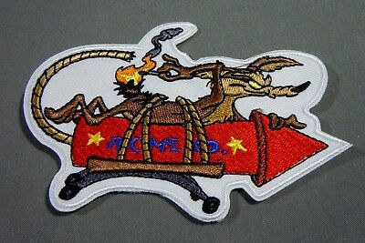 """WILE E. COYOTE on ACME ROCKET #2 Embroidered Iron-On Patch - 4"""""""