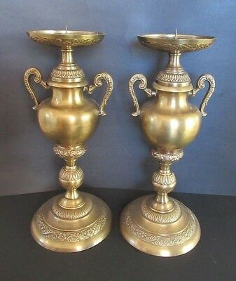 Matching Pair Large Vintage Brass Candlesticks Candle Holders - 13.5""
