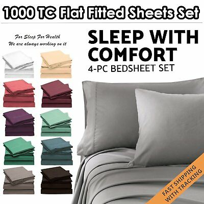 4PC 1000TC Ultra SOFT Flat & Fitted Sheets Set Single/Double/Queen/King Size Bed