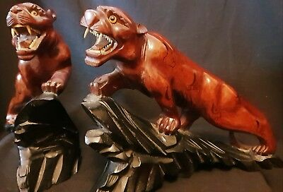 Exquisite Pair Of Antique Chinese Hand Carved Wood Sculptures Of Tigers