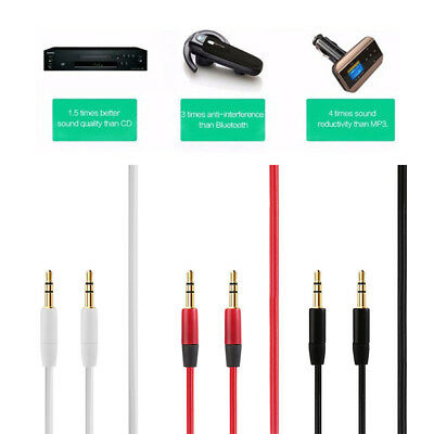 1.2/1.5/3M New Universal Male To Male Nylon Plated 3.5mm Jack AUX Audio Cable~