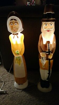 Vintage Union Products Don Featherstone Lighted Blow Mold Pilgrims 1996