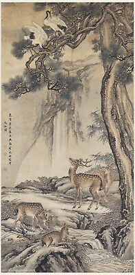 Chinese traditional scroll painting Cranes deers and old pinetrees by Shen Quan