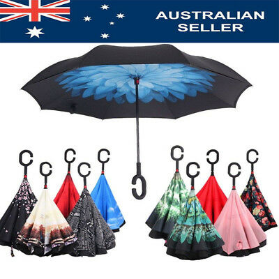 AU Windproof Double Layer Upside Down Inverted Folding C-Handle Reverse-Umbrella