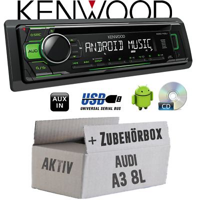 Kenwood Radio per Audi A3 8L Attivo Verde CD/MP3/USB Android-Steuerung