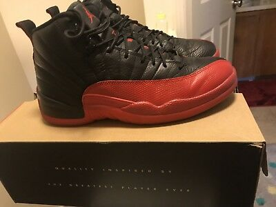 newest a2b40 1a487 NIKE AIR JORDAN XII 12 BLACK RED FLU GAME 2016 RETRO Size 8.5 Worn Three  Times
