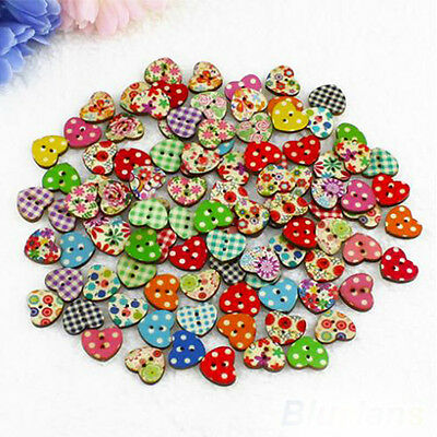 DIY 100Pcs 18mm 2 Holes Colorful Heart Shaped Wood Sewing Scrapbooking Buttons