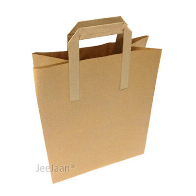 """250 LARGE SIZE BROWN KRAFT CRAFT PAPER SOS CARRIER BAGS 10"""" x 12"""" x 5.3"""""""