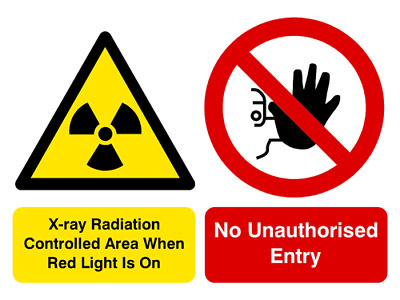 X-Ray radiation no unauthorised entry multi message sign