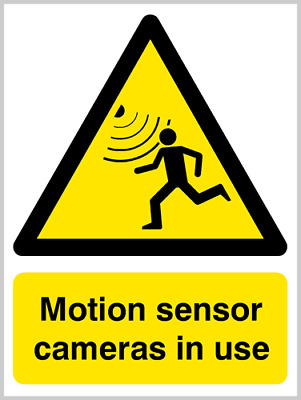 Motion sensor cameras in use security sign