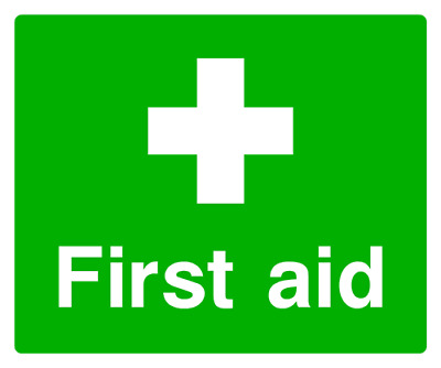 First aid symbol and text sign