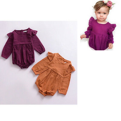 Newborn Children Baby Girls Long Flying Sleeve Tops Romper Outfits Clothes MI