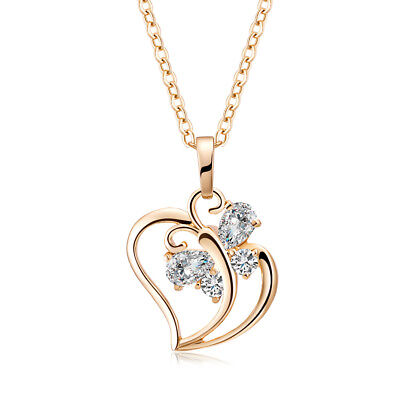 Fashion womens Butterfly Crystal Heart Pendant chain  long Necklace Gold Plated