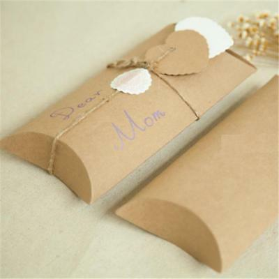 Cute Kraft Paper Pillow Wedding Wrap Favor Boxes Bag Candy Sweet Party Xmas Gift
