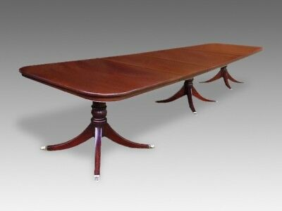 Amazing 14ft triple pedestal Regency style Brazilian mahogany dining table