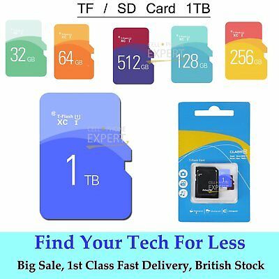 1TB Ultra Memory Storage TF Flash Card Micro SD SDHC Disk + Free Adaptor UK