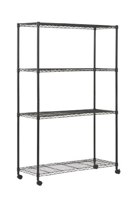 """4 Tier Mobile Wire Shelving Unit With 2"""" Nylon Casters 4 Wire Shelves Chrome New"""
