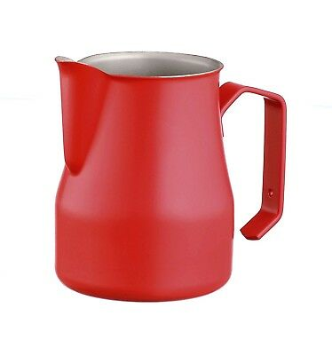 (Red, 350ml) - Motta 35cl Stainless Steel Professional Milk Pitcher, 11.8