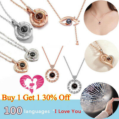 I LOVE YOU in 100 languages Silver Rose Gold Pendant Necklace For Memory LOVE EA