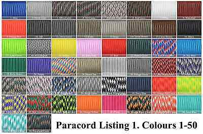 Paracord 550 100' 100 Foot CHOOSE OVER 300 COLOURS! GENUINE 7 STRAND PARACORD!