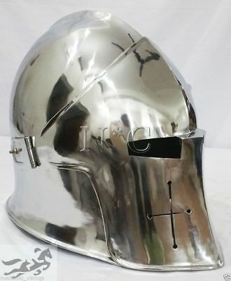 MEDIEVAL VISOR BARBUTA ARMOUR HELMET GREEK ROMAN BARBUTE knight Helmet Wearable