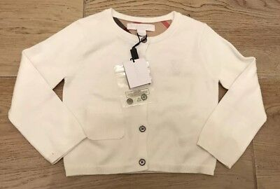 BURBERRY, White Cotton Cardigan, 12-18 Months, BRAND NEW WITH TAGS RRP £100