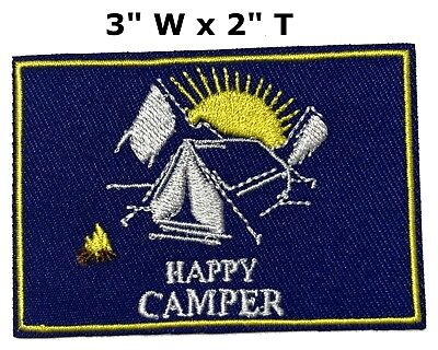 Happy Camper US Park Patch Souvenir Tent Nature Travel Embroidered Iron / Sew-on
